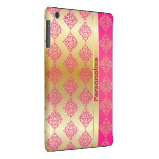El damasco rico brillante el | del rosa y del oro funda de iPad mini