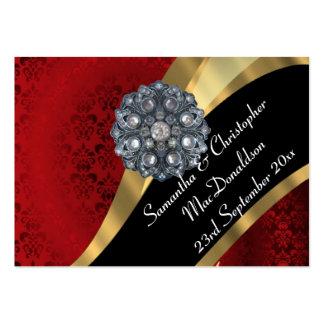 El damasco rojo, favor del boda del oro le tarjetas de visita grandes