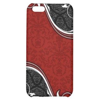 El damasco rojo y negro curva el caso del iPhone 4