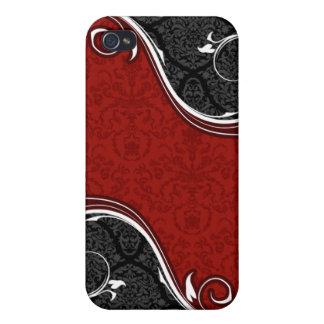 El damasco rojo y negro curva el caso del iPhone 4 iPhone 4/4S Carcasas