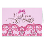 El damasco rosado elegante le agradece cardar felicitaciones