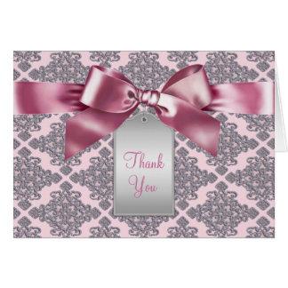 El damasco rosado elegante le agradece las tarjeta