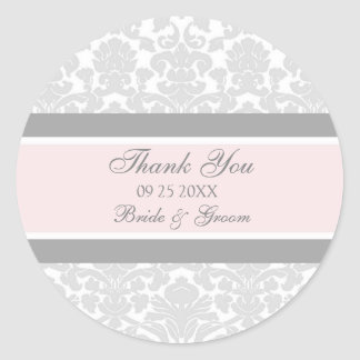 El damasco rosado gris le agradece las etiquetas etiqueta redonda