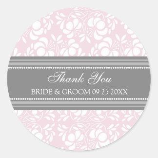 El damasco rosado gris le agradece las etiquetas pegatina redonda
