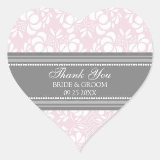 El damasco rosado gris le agradece las etiquetas pegatina en forma de corazón
