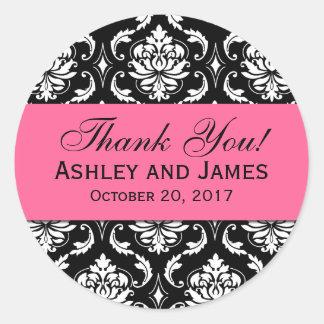 El damasco rosado, negro del boda le agradece etiquetas redondas