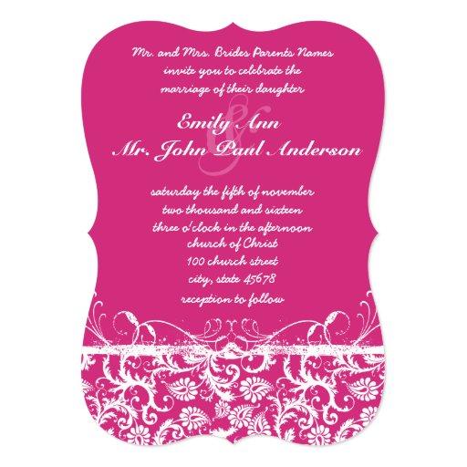 El damasco rosado remolina invitación del boda