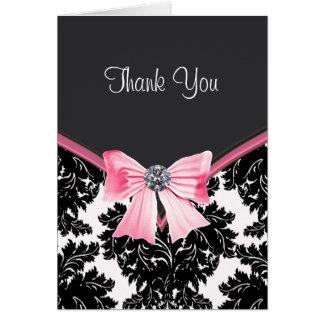 El damasco rosado y negro le agradece las tarjetas