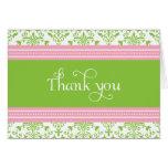 El damasco rosado y verde elegante le agradece car felicitacion