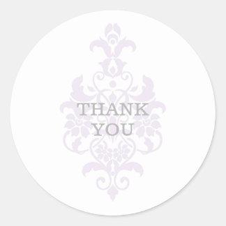 El damasco sutil púrpura le agradece los pegatinas pegatina redonda