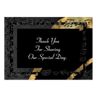 El damasco trasero, favor del boda del oro le tarjetas de visita grandes