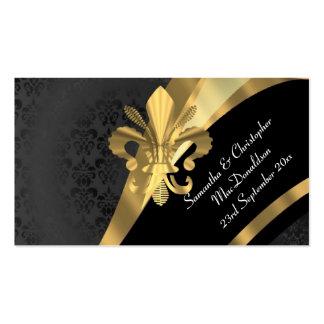 El damasco trasero, favor del boda del oro le tarjetas de visita