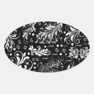 El damasco veneciano, ornamentos, remolina - pegatina ovalada