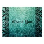 El damasco verde adornado gótico le agradece tarjetas postales