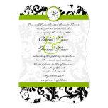 El damasco verde remolina invitación del boda invitación 12,7 x 17,8 cm