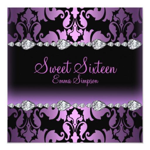 """El damasco y el dulce púrpuras dieciséis del invitación 5.25"""" x 5.25"""""""