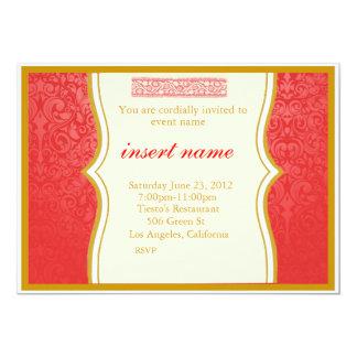 """El damasco y el indio diseñados invitan invitación 5"""" x 7"""""""