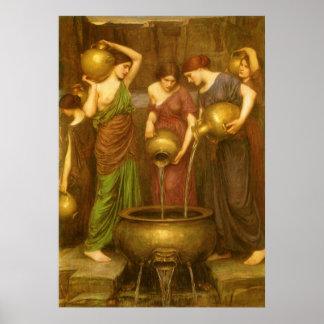 El Danaides por el Waterhouse, arte del Victorian Póster