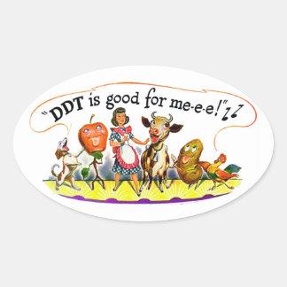 El DDT retro del anuncio del kitsch del vintage es Calcomanía Óval
