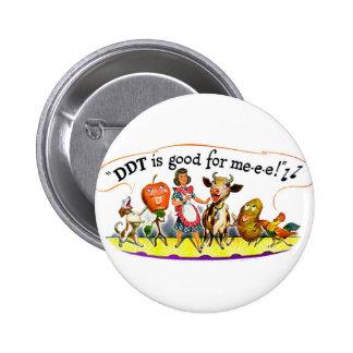 El DDT retro del anuncio del kitsch del vintage es Pin Redondo De 2 Pulgadas