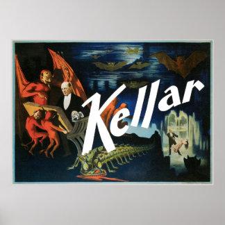 El ~ de Kellar el acto mágico del vintage del diab Póster