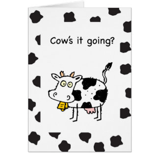 Él de la vaca el ir, pensando en usted, divertido tarjeta de felicitación