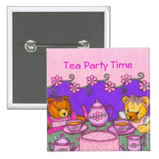 El ~ de los botones del tiempo de la fiesta del té pin cuadrado