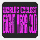 El de ocho años más fresco de los 8vos mundos rosa pegatinas cuadradas