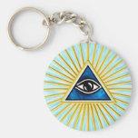 El de vista de todo de ojo dios, pirámide, francma llaveros personalizados