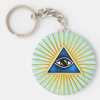 El de vista de todo de ojo dios, pirámide, francma llavero redondo tipo pin