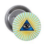 El de vista de todo de ojo dios, pirámide, francma pin redondo de 2 pulgadas