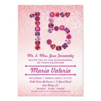"""El décimo quinto fiesta Bejeweled de Quinceañera Invitación 5"""" X 7"""""""