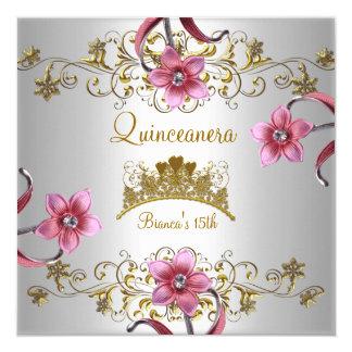 """El décimo quinto rosa blanco de Quinceanera Invitación 5.25"""" X 5.25"""""""