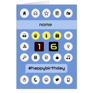 el décimosexto cumpleaños añade la computación tarjeta de felicitación