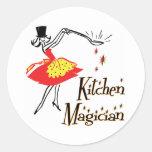 El decir de cocinar retro del mago de la cocina pegatinas redondas