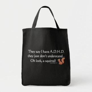 El decir de la ardilla de ADHD Bolsa Tela Para La Compra
