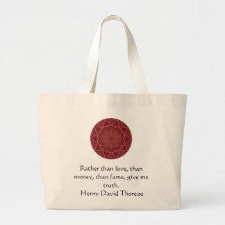 El decir de la cita de la sabiduría de Henry David Bolsa Tela Grande