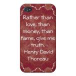 El decir de la cita de la sabiduría de Henry David iPhone 4 Carcasas