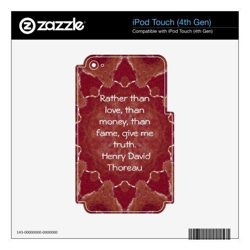 El decir de la cita de la sabiduría de Henry David Calcomanía Para iPod Touch 4G
