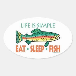El decir divertido de la pesca calcomanías ovales personalizadas