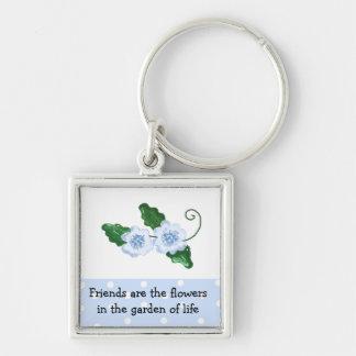El decir floral azul de la amistad llavero cuadrado plateado