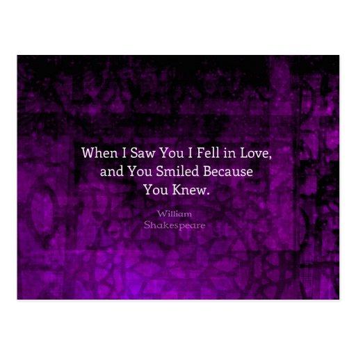 El decir romántico del amor de William Shakespeare Postal