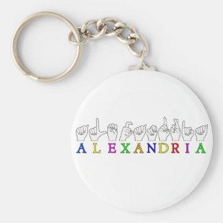 EL DEDO CONOCIDO DE ALEXANDRÍA ASL DELETREÓ LA MUE LLAVERO REDONDO TIPO PIN