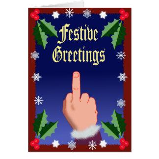 El dedo festivo tarjeta de felicitación