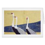 el) del 部分 del (del 群鶴図屏風, 其一 Cranes (detalle), Ki Tarjetas