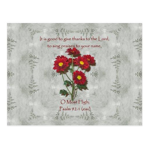 El ~ del 92:1 del salmo da gracias al señor tarjeta postal