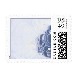 El © del tren timbre postal