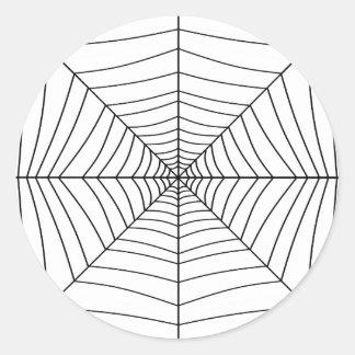 El ~ del WEB de ARAÑA (un diseño negro y blanco) Pegatina Redonda
