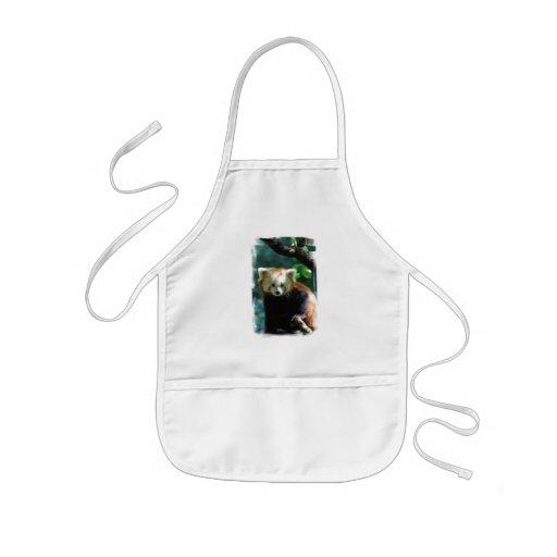 El delantal de los niños adorables de la panda roj