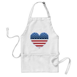 El delantal del cocinero de la bandera del corazón